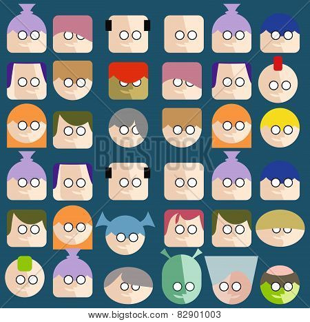 Faces Circle Icons Set Colorful .
