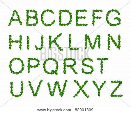 Green Leaves font, st. patrick day, clover font,