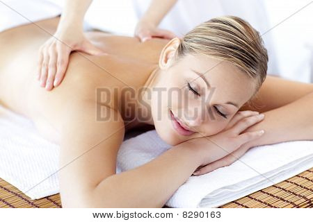 Relaxed Caucasian Woman Receiving A Health Treatment