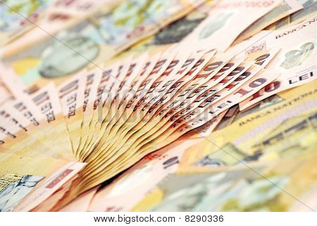 Detail Closeup Of Romanian Banconotes