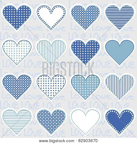 Love Background With Heart Frames On Blue, Pattern For Baby Boy