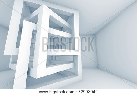 Abstract 3D Background. White Cube Constructions