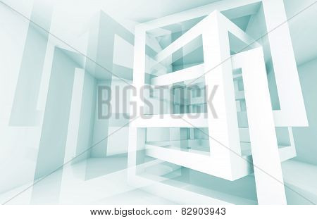 3D Abstract Architecture Background. White Chaotic Pattern