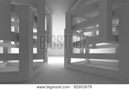 Abstract 3D Dark Interior With Chaotic Cube Constructions