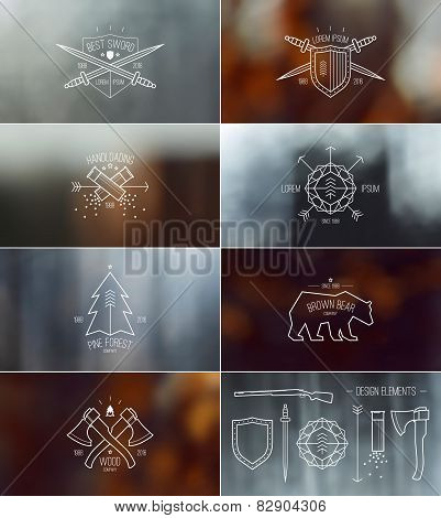 Set Of Badges With Blurred Backgrounds