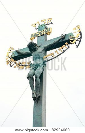 Detail of the old cross with Jesus