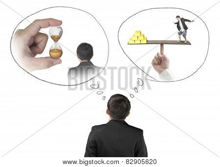 Businessman Imagining Work Situation Isolated On White