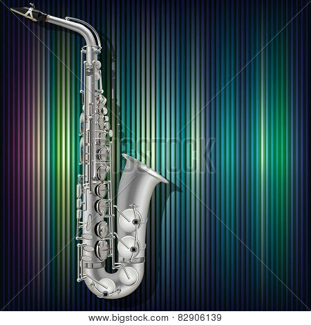 Abstract Grunge Background Saxophone And Musical Instruments
