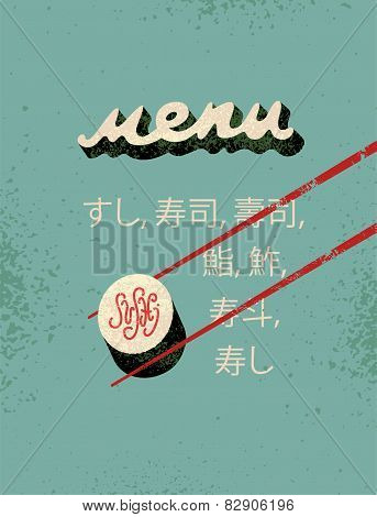 Restaurant vintage menu design for sushi.