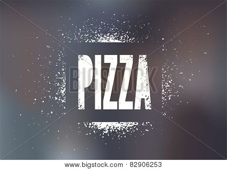 Restaurant menu design for pizza. Poster for pizzeria with blurry background. Vector illustration.