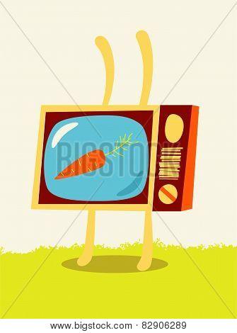 ?artoon TV-rabbit with carrot on the screen. Vector illustration.
