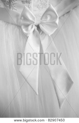 Closeup Of Back Of Wedding Dress Detail