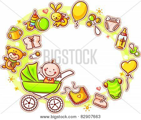Oval Frame with Cartoon Baby