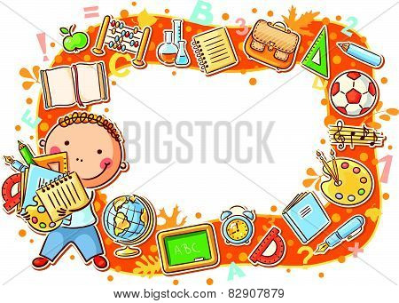 Cartoon Frame with School Objects