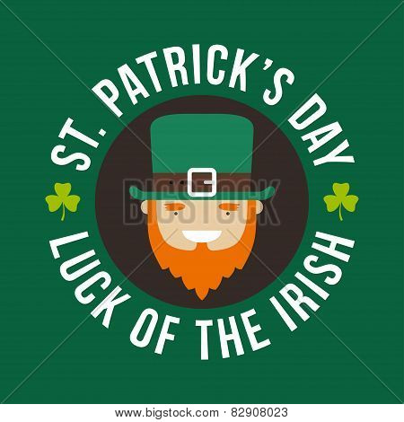 St. Patricks Day Card Design. Vintage Holiday Badge Design. Luck Of The Irish. Leprechaun