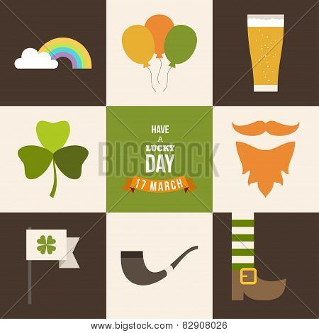 Vecor Set Of St. Patricks Day Illustrations And Design Elements