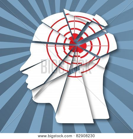 Human profile with red target. Information attack and headache