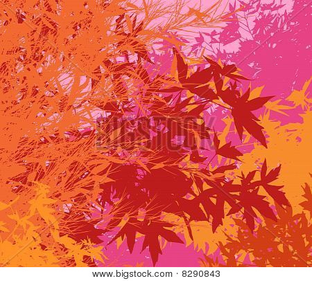 Colorful landscape of foliage - Vector pop illustration