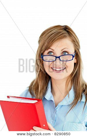 Charming Young Woman Holding A Red Folder