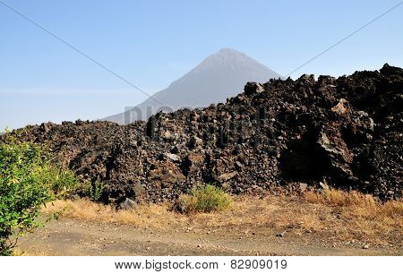 Dried Lava Bed By The Volcano
