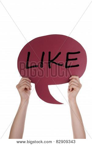 Red Speech Balloon With Like