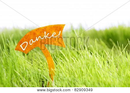 Label With German Danke Which Means Thank You On Green Grass