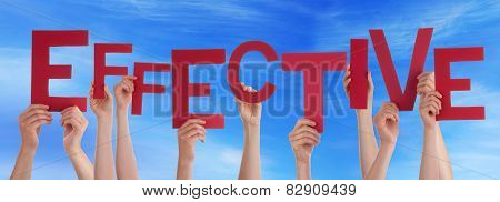 Many People Hands Holding Red Word Effective Blue Sky