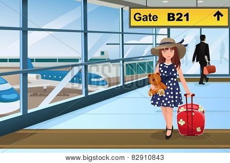 Little Kid Traveling In The Airport
