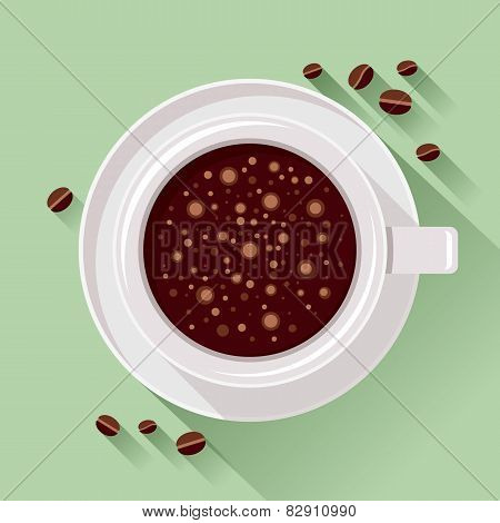 Top View Of Coffee Cup And Coffee Beans