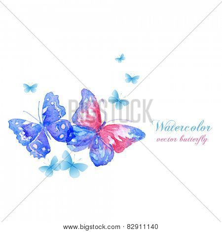 Blue watercolor butterflies. Vector design elements.