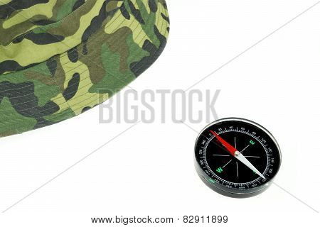 Military ?ap And Compass Isolated