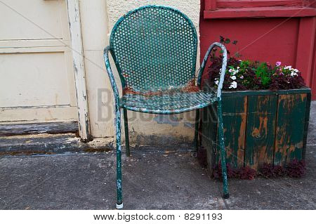 Old Chair And Flower Box