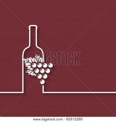 wine menu with bottle and grapes