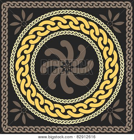 vector gold pattern of chains