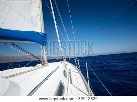 Sailing vessel moving in the sea