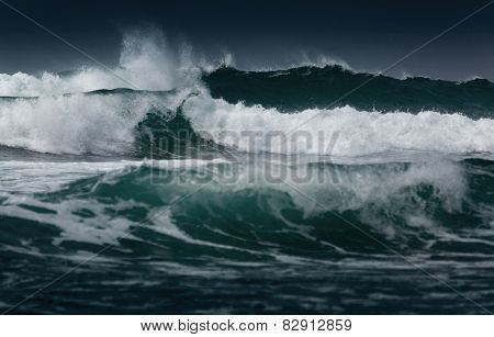 Sea with rough waves