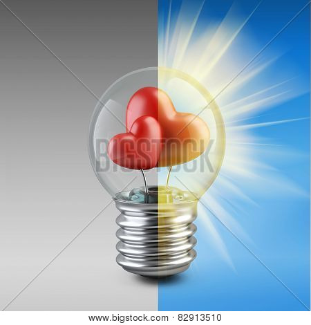 Light Bulb Concept With A Red Shape Of A Heart