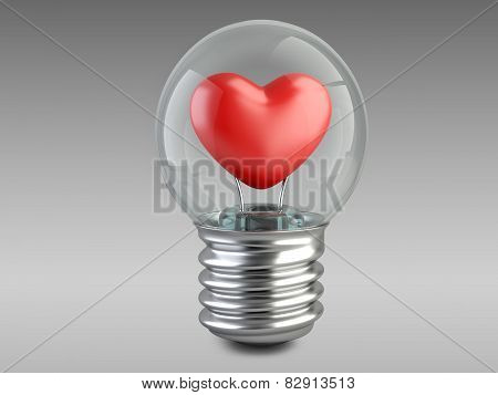 Light Bulb Concept With A Red Heart
