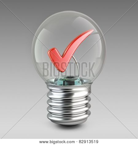 Success Concept. Light Bulb And Red Check Mark.