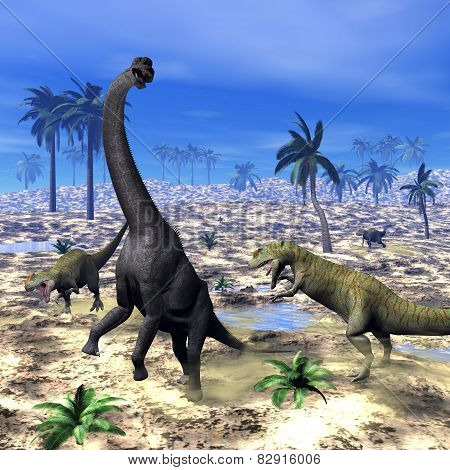 Allosaurus attacking brachiosaurus dinosaur - 3D render