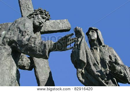 MARIJA BISTRICA, CROATIA - MAY 26: 6th Station of the Cross - Veronica wipes the face of Jesus, pilgrimage Sanctuary, Assumption of the Virgin Mary in Marija Bistrica, Croatia, on May 26, 2009