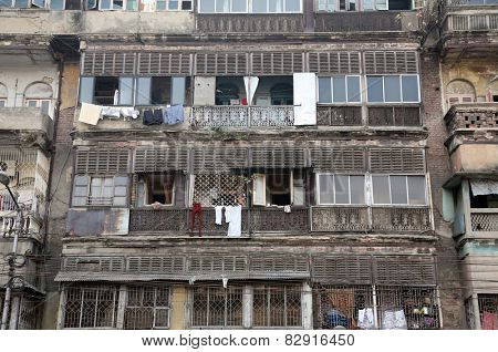 KOLKATA, INDIA - FEBRUARY 08: An aging, decaying, ex-colonial tenement block in Kolkata, West Bengal, India on February 08, 2014.