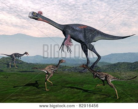 Gigantoraptor and small mononykus dinosaurs - 3D render