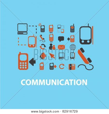 communication, connection, network, call service icons, signs, illustrations set, vector