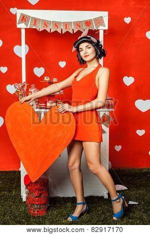 Beautiful Retro Girl In Red Dress.