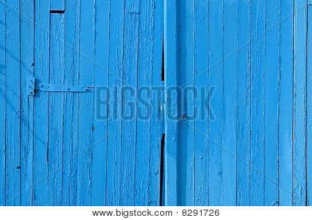 Old gate in wood blue painted for background
