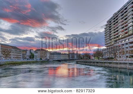 Rhone river, Sous-Terre bridge and buildings, Geneva, Switzerland, HDR