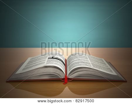 Open book on green vintage background. 3d