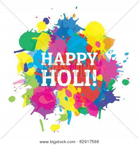 Indian festival Happy Holi colors splash vector.