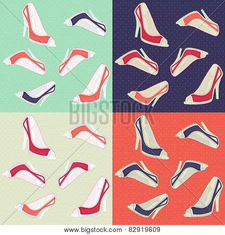 Seamless ladies retro high heels shoes seamless pattern